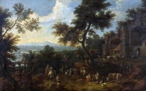 Картинка деревья, пейзаж, мост, люди, картина, Адриан Франс Будевинс, Привал в Пути