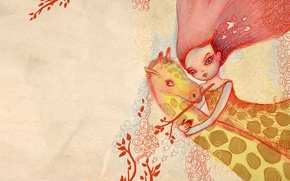 Обои девушка, розовый, объятия, жираф