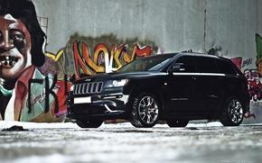Картинка машина, авто, снег, граффити, диски, auto, Jeep, Grand Cherokee, SRT 8