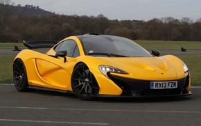 Картинка McLaren, Желтый, Макларен, Фары, Диски, Суперкар, Yellow, Гиперкар, Трек, Supercar, Hypercar, Спойлер
