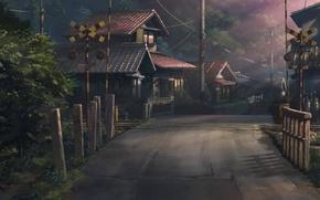 Картинка лето, свет, деревья, улица, дома, аниме, железная дорога, Ловцы забытых голосов, Hoshi wo ou kodomo