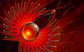Картинка цветок, линии, шар, искры, сфера