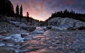 Картинка небо, деревья, горы, природа, река, камни