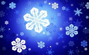 Картинка снежинки, вектор, Синий