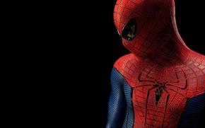Картинка человек-паук, персонаж, spider-man, герой, черный фон, костюм, фильм