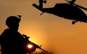 Картинка Закат, Черный, Война, Вертолет, Армия, Солдат, Оружие