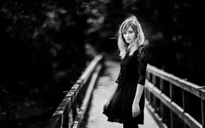 Картинка портрет, боке, black and white