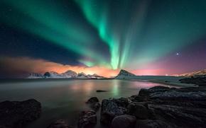 Обои море, небо, горы, ночь, северное сияние, север