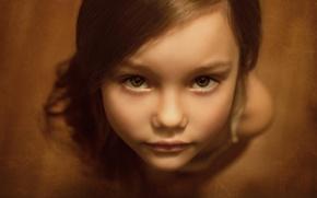 Картинка взгляд, портрет, девочка, кареглазая