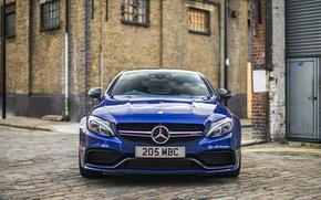 Обои синий, Mercedes-Benz, мерседес, AMG, Coupe, C-Class, C205
