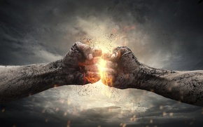 Картинка light, energy, hands, hit, clenched fist