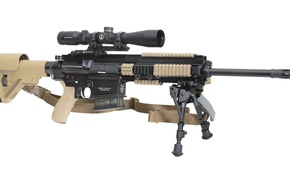 Картинка weapon, sniper, bandolier, butt expandable bipod, shooting accuracy, telescopic sight, long distance weapon, Heckler & ...