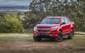 Обои Красный, Автомобиль, Crew, Colorado, Holden, Cab, Z71, 2016, Металлик