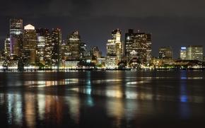 Картинка город, река, ночные огни, Бостон ночью