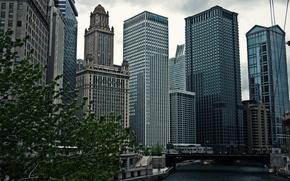 Картинка небо, небоскребы, USA, чикаго, Chicago, высотки, center, illinois