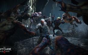 Картинка меч, монстры, ведьмак, гуль, The Witcher 3: Wild Hunt, Ведьмак 3: Дикая Охота, Весемир, гули
