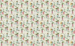 Картинка лето, зонтик, фон, азия, текстура, арт, девочка