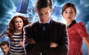 Картинка взгляд, девушка, фон, волосы, платье, актриса, актер, мужчина, пиджак, Doctor Who, свитер, Доктор Кто, ТАРДИС, …