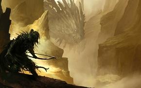 Картинка горы, дракон, воин, лук, ущелье, стрелы, лучник, крадется