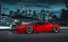 Картинка City, Ferrari, Red, 458, Body, Italia, Kit, Liberty, Walk