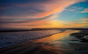 Обои san diego, california, пляж, песок, закат, океан