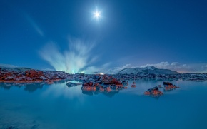 Обои горы, озеро, Исландия, Iceland, Голубая лагуна, Blue Lagoon, Grindavik, Гриндавик