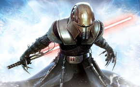 Обои маска, Star Wars, Звёздные войны, Световой меч, Сила необузданная, The Force Unleashed
