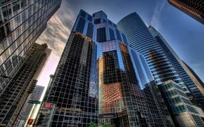 Картинка небо, облака, город, дома, небоскребы, hdr, америка, чикаго, штаты, usa, u.s.a., chicago