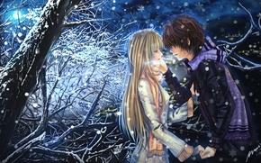 Обои снег, арт, парень, пара, луна, дерево, девушка, эмоции, шарф, ночь, слезы