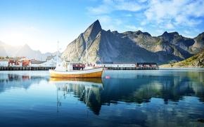Картинка Дома, Море, Горы, Город, Норвегия, Катера, Lofoten Islands
