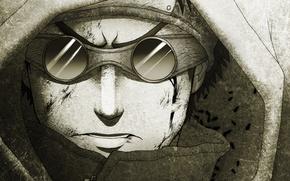 Обои рисунок, очки, капюшон, парень, naruto, linnyxito, aburame shino