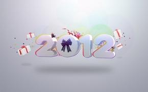 Картинка фон, праздник, новый год, цифры, подарки, 2012, бантик, happy new year
