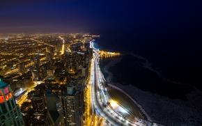 Картинка ночь, город, огни, озеро, побережье, здания, дома, небоскребы, Чикаго, Мичиган, панорама, USA, США, Иллинойс, Chicago, …
