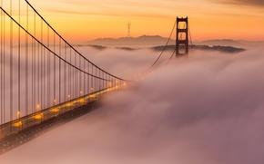 Картинка облака, закат, мост, туман