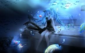 Обои hatsune miku, лестница, арт, пузыри, под водой, аниме, рыбки, magicians, девушка, vocaloid