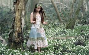 Обои девушка, весна, лес