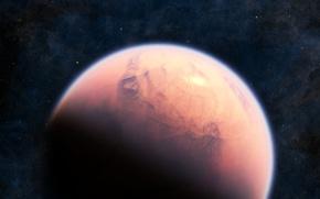 Картинка космос, звезды, туманность, планета, атмосфера, красная