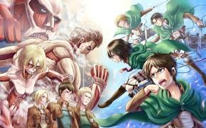 Картинка девушки, злость, спокойствие, солдаты, парни, art, гиганты, shingeki no kyojin, rivaille, mikasa ackerman, eren jaeger, …