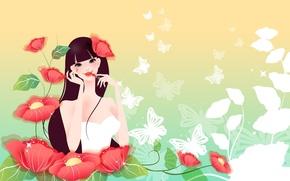 Картинка девушка, бабочки, цветы, рисунок, маки, помада, красные