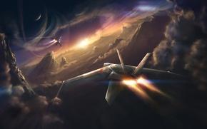 Картинка небо, полет, пейзаж, закат, самолет, скорость, горизонт, sky, landscape, sunset, clouds, speed, fly, horizon