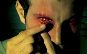 Обои красный, глаз, линза