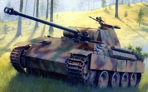 Картинка war, art, painting, Panzerkampfwagen V Panther, tank, ww2, german panzer