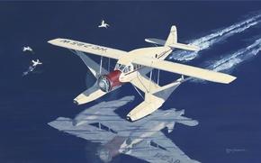 Картинка самолет, Нью-Йорк, арт, airplane, Airbus, использовался, США., воздушных, 1934г., пригородных, линиях, P-200A