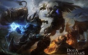 Картинка арт, битва, воины, демоны, Dota Allstars