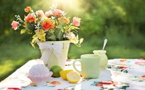 Картинка ваза, цветы, лимоны, чашка, cтол, пирожное, скатерть