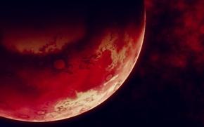 Картинка космос, поверхность, планета, красная