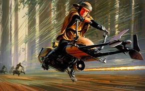 Картинка Рисунок, Star Wars, Art, Звездные Войны, Movie, Speeder Bike