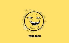 Обои улыбка, желтый фон, сладкий, ехидный сыр, Yoba, Безумный шар