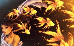 Картинка девушка, рыбки, волосы, арт, ткань, много, золотые