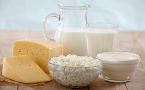 Обои сметана, стол, молоко, творог, аппетитно, сыр, чашки, стакан, кувшин